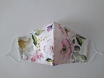 Dizajnové rúško šípová ruža prémiová bavlna antibakteriálne s časticami striebra dvojvrstvové tvarované