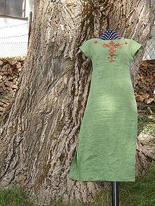 Šaty - Ľanové šaty s ručnou výšivkou - 12153999_
