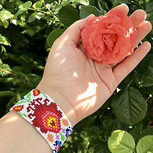 Náramky - Náramok na ruku Lúka (Červený kvet) - 12152862_