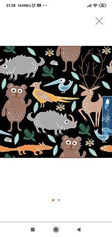 Iný materiál - Nepremokavý materiál lesné zvieratká čierne - 12154908_