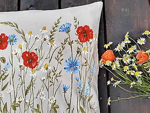 Úžitkový textil - Vankúš - maľované maky - 12156720_