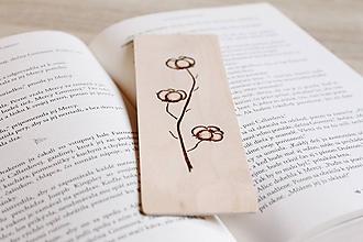 """Papiernictvo - Drevená záložka do knihy """"Jednoducho bavlna"""" - 12156072_"""
