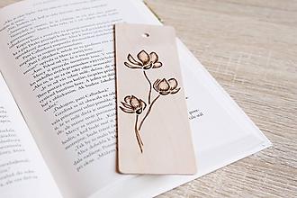 """Papiernictvo - Drevená záložka do knihy """"Vôňa magnólie"""" - 12156093_"""