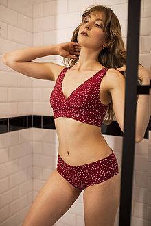Bielizeň/Plavky - Športová podprsenka z bio bavlny GOTS - červené bodky - 12155117_