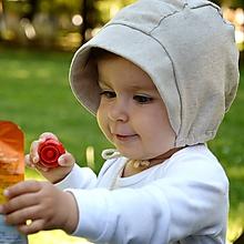 Detské čiapky - Baby čepiec 100% ľan-piesková - 12157697_