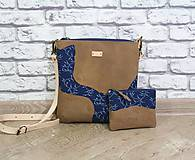 - Kožená modrotlačová kabelka Dara WILD1+ taštička - 12156550_