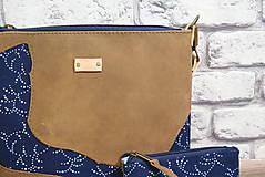 Kabelky - Kožená modrotlačová kabelka Dara WILD1+ taštička - 12156555_