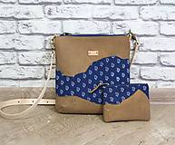 Kabelky - Kožená modrotlačová kabelka Dara WILD 3+ taštička - 12156570_