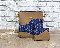 Kabelky - Kožená modrotlačová kabelka Dara WILD 3+ taštička - 12156571_