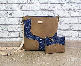 Kabelky - Kožená modrotlačová kabelka Dara WILD1+ taštička - 12156550_