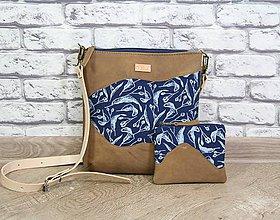Kabelky - Kožená modrotlačová kabelka Dara WILD 2+ taštička - 12156563_