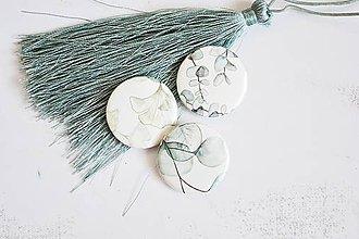 Odznaky/Brošne - Buttonky/odznačiky - eukalyptus/ginko - 12158058_