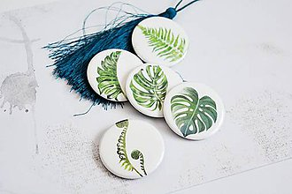 Odznaky/Brošne - Buttonky/odznačiky - monstera/papraď - 12158109_