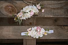 Ozdoby do vlasov - Kvetinový set mama a  bábätko - polvenček a  čelenka na gumičke - 12159370_