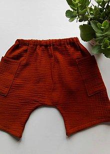 Detské oblečenie - Detské kraťasy - mušelín   (Hrdzavá + 2 vrecká) - 12160863_