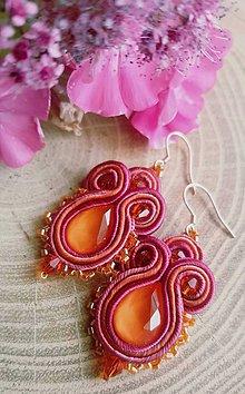 Náušnice - Sujtaškové náušnice oranžovo-ružové - 12160018_