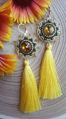 Náušnice - Náušnice so SW kameňom so strapcami - žlté - 12160081_