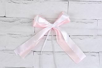 Dekorácie - Mašľa bledoružovo-biela - 12159582_