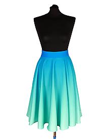 Sukne - SVETLANA- potlač Modro-mentolový prechod - 12158075_