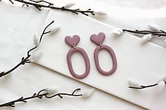 Náušnice - Náušničky z polymérovej hmoty Old pink hearts - 12158652_