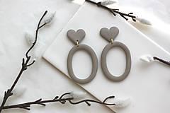 Náušnice - Náušnice z polymérovej hmoty Grey hearts - 12158664_