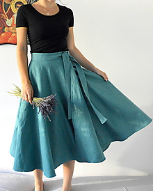 Sukne - Ľanová sukienka zavinovacia - 12160933_