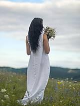 Šaty - Lněné maxi šaty bílé (L) - 12159230_