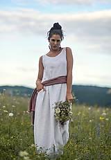Šaty - Lněné maxi šaty bílé (L) - 12159232_