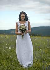 Šaty - Lněné maxi šaty bílé (L) - 12159233_