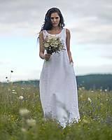 Šaty - Lněné maxi šaty bílé (L) - 12159235_