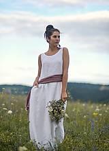 Šaty - Lněné maxi šaty bílé (L) - 12159237_
