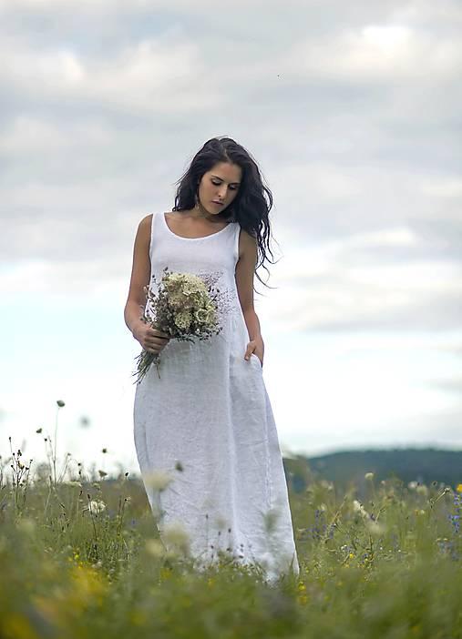 Lněné maxi šaty bílé (L)