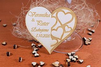 Darčeky pre svadobčanov - Drevená svadobná magnetka Ľudový motív 29 (5x5cm) - 12158732_