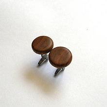 Šperky - Drevené manžetové gombíky - jabloňové vypuklé (nerez) - 12160128_