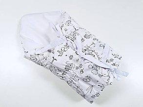 Textil - Zavinovačka s troma úväzmi biela Birds - 12162882_