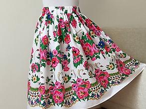Sukne - Sukňa s bordúrou,kvety na bielej - 12161561_