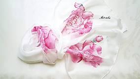 Šály - Šál hodvábny - ruže bez tŕnia - 12161924_