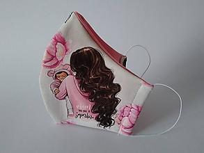 Rúška - Dizajnové rúško mama - superhrdinka girl tvarované dvojvrstvové - 12164350_