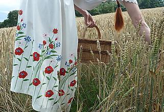 Sukne - Ľanová sukňa poľné kvety - 12164855_