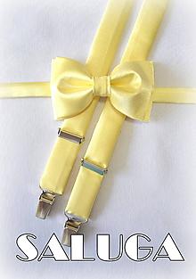 Doplnky - Žltý pánsky motýlik + traky (možnosť aj detský) - 12165011_