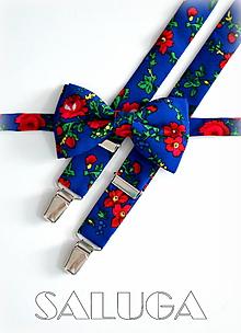 Doplnky - Modrý kvetinový motýlik a traky - pánsky set - folklórny - 12165033_