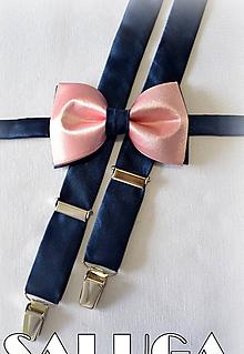 Doplnky - Pánsky staroružový, púdrový motýlik + traky s modrým - modrý - 12165051_