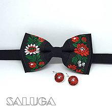 Doplnky - Folklórny čierny motýlik + náušnice - 12165078_