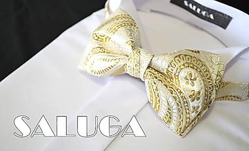Doplnky - Luxusný zlatý motýlik - vzorovaný - svadobný - 12165473_
