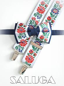 Doplnky - Folklórny pánsky modrý motýlik a traky - folkový - ľudový - 12165523_