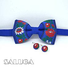 Doplnky - Modrý folklórny motýlik + náušnice - 12165554_