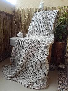 Úžitkový textil - Háčkovaná HYGGE DEKA svetlá béžová - 12164516_