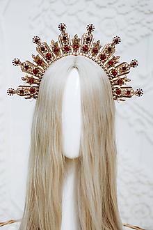 Ozdoby do vlasov - Zlato červená Halo crown s filigránmi - 12166805_