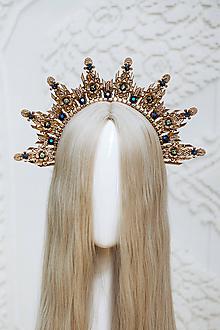 Ozdoby do vlasov - Zlato čierna Halo crown s filigránmi - 12166809_