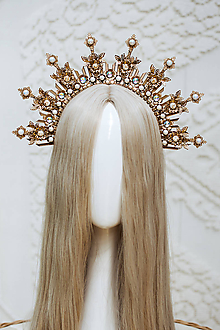 Ozdoby do vlasov - Zlato biela Halo crown s filigránmi - 12166811_